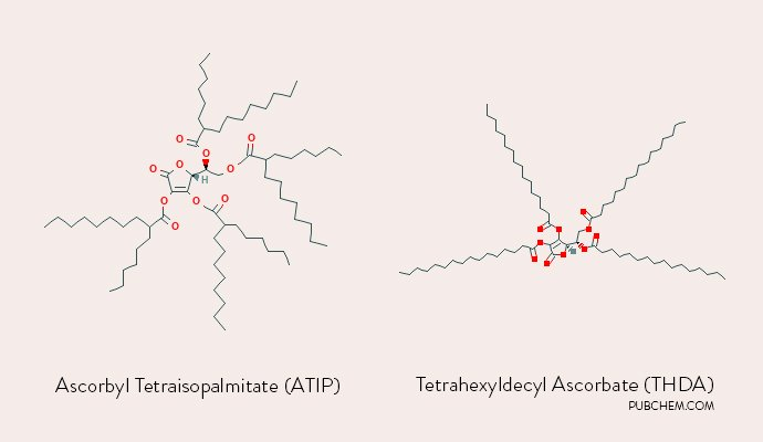 chemical structure Ascorbyl Tetraisopalmitate (ATIP) vs. Tetrahexyldecyl Ascorbate (THDA)